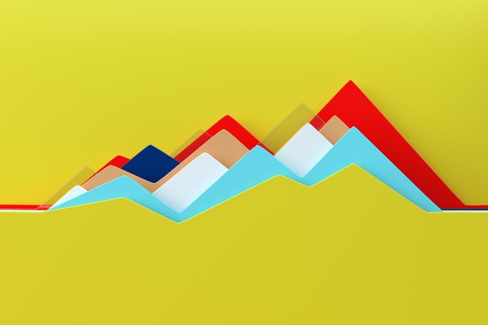 Abstract multi colored line chart
