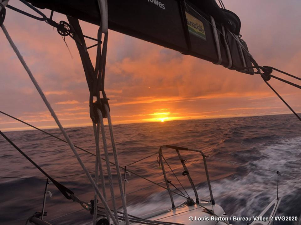 December ocean sunset from the boat Bureau Vallée 2