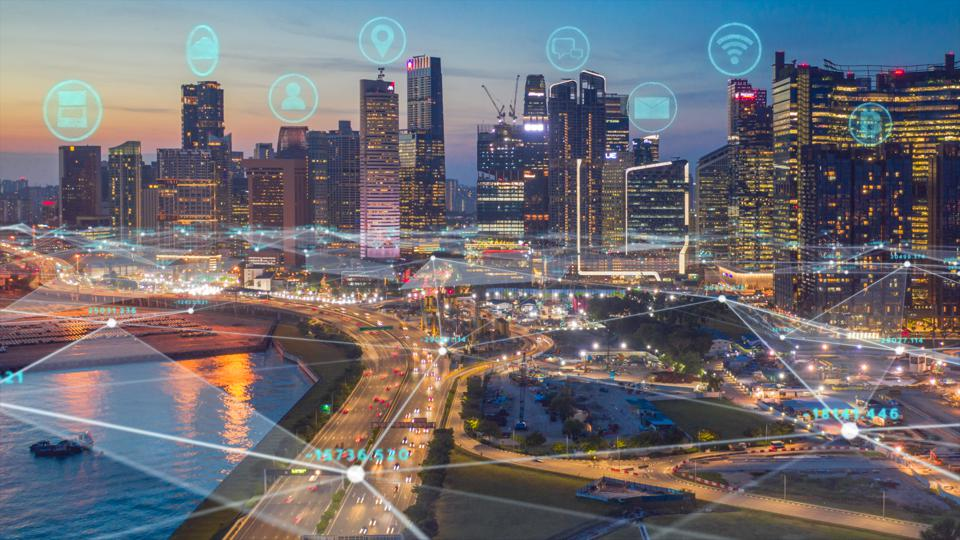 Singapore skyline with network connections line.Internet of Things And smart city concept,Technology-Futuristic concept