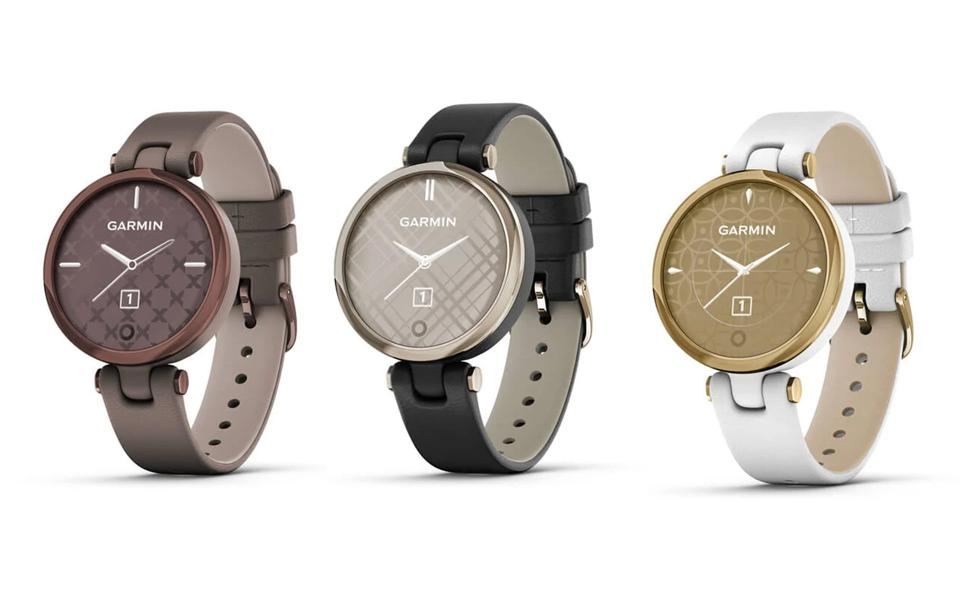Three promo images of the Classic Garmin Lily.
