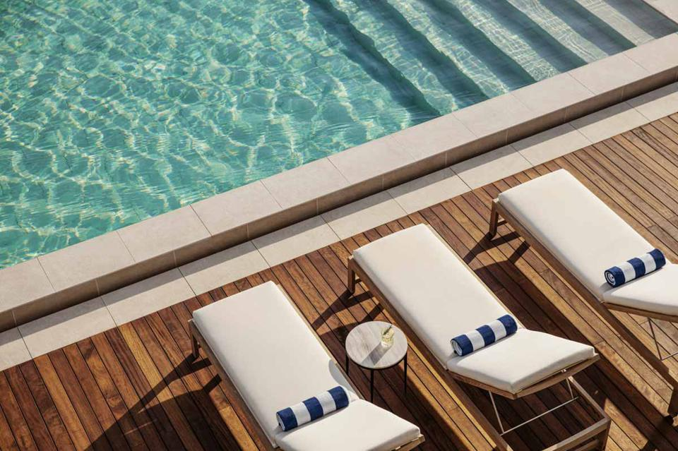 Sun loungers and pool at One&Only Portonovi luxury boutique hotel in Montenegro?