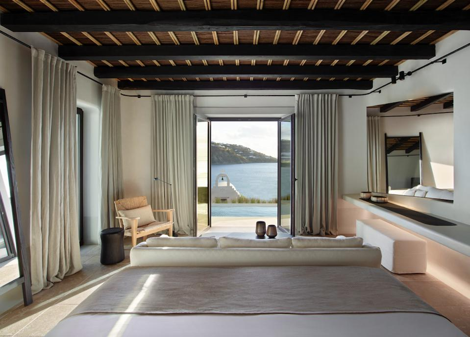 Interior and views, private pool and Adriatic, Kalesma luxury boutique hotel Mykonos