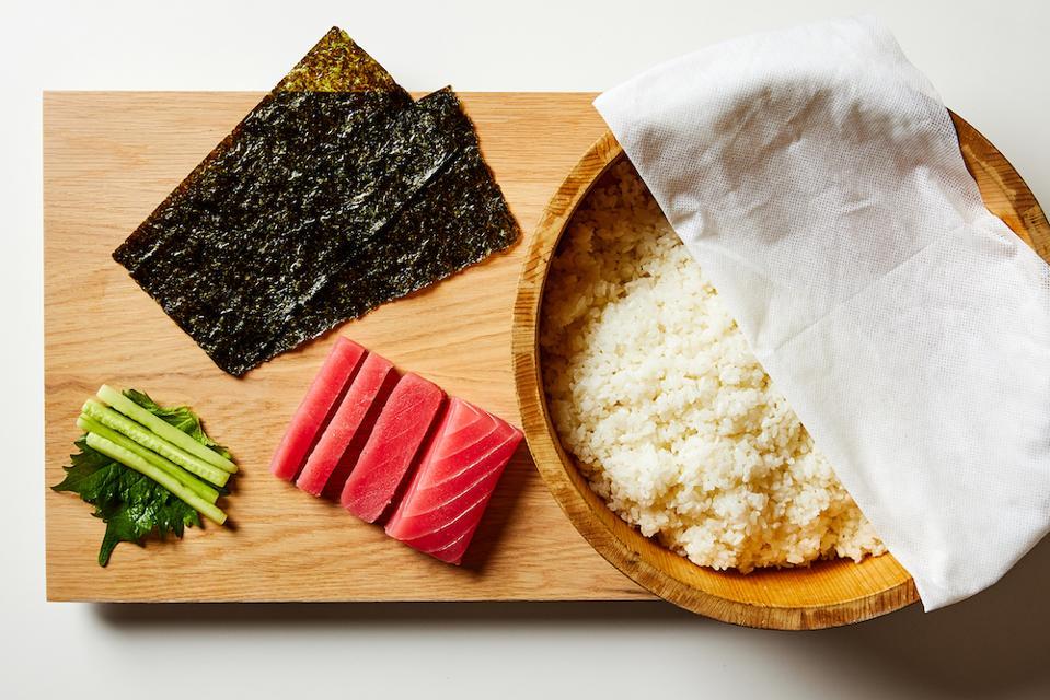 Making at-home sushi using the HomeChef by MakiMaki kit.