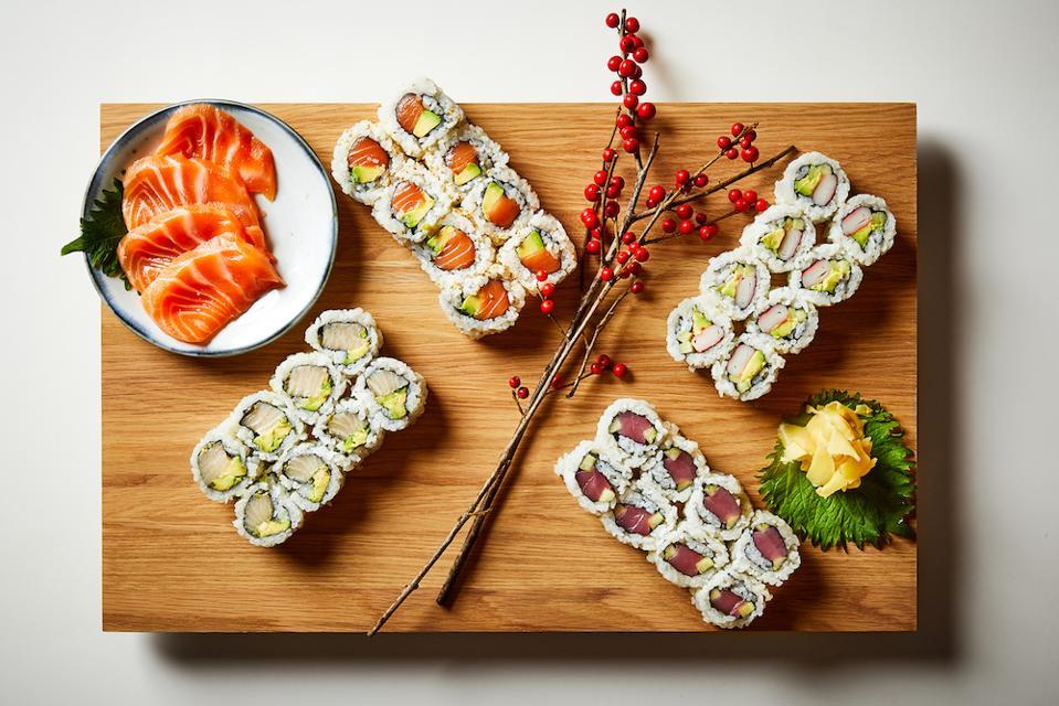 Finished sushi rolls