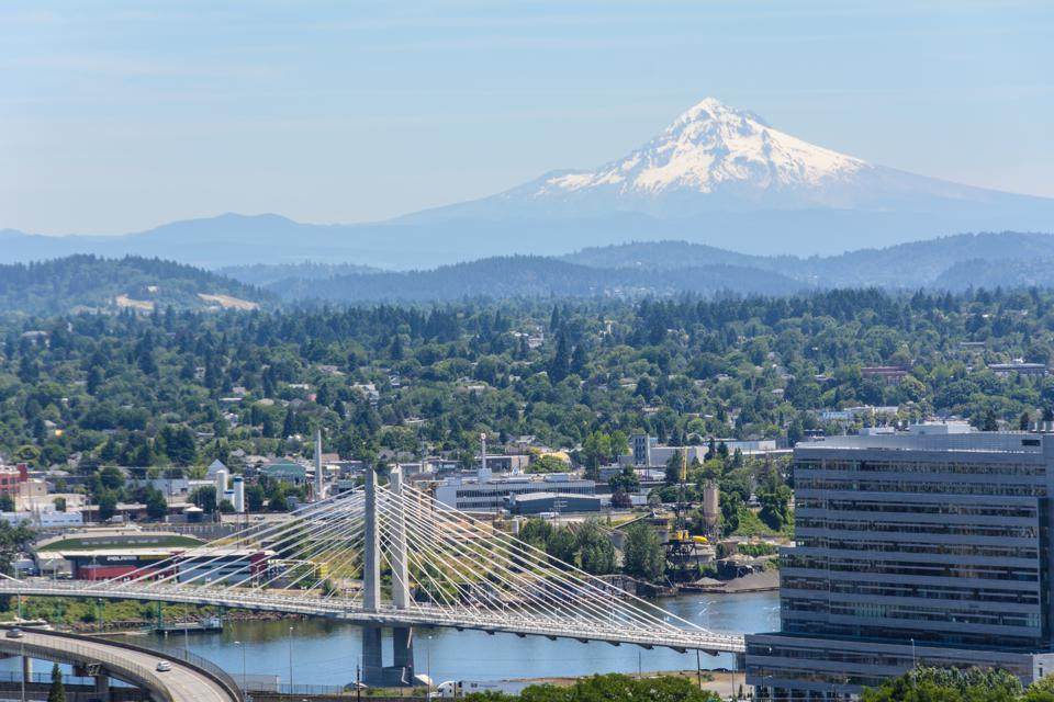 View of Mount Hood in Portland, Oregon USA