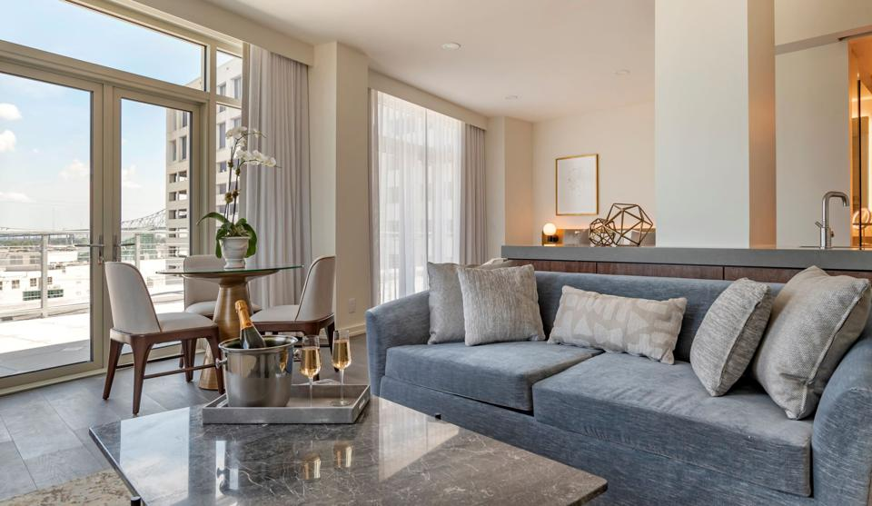 Interior of a suite at One11 Horel New Orleans
