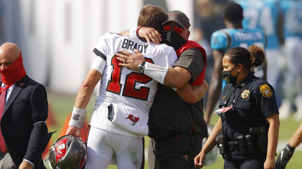 Tom Brady hugs head coach Bruce Arians of the Tampa Bay Buccaneers.