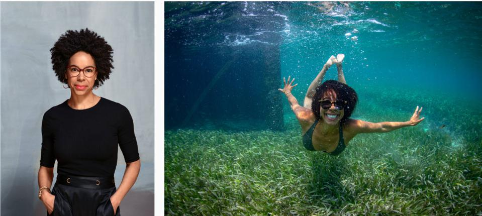 Ayana Elizabeth Johnson swimming in seagrass in Jamaica