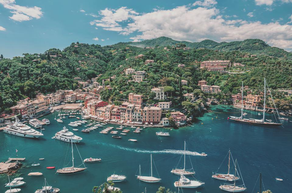 aerial view of Portofino on the Italian riviera and Belmond Splendido Mare luxury hotel