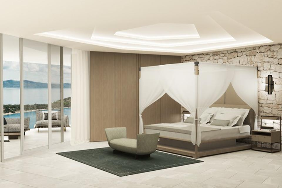 Render of a guest room at the Nai 3.3 luxury boutique Hotel in Croatia