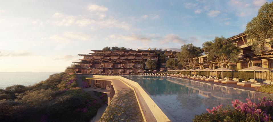 Render of Six Senses Ibiza hotel and pool.
