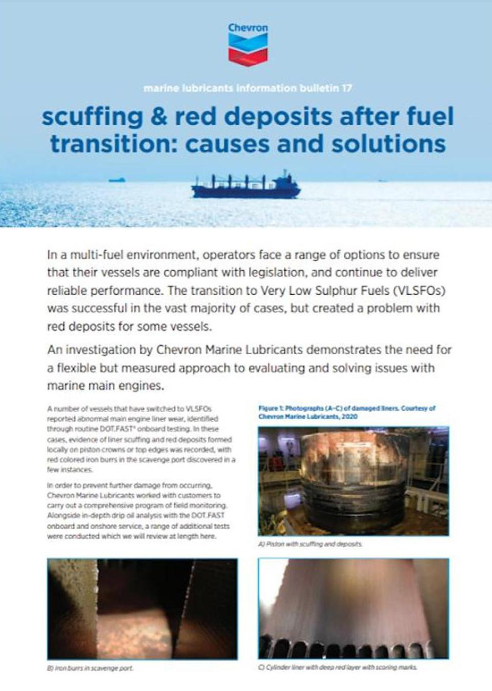 The Chevron Marine Lubricants Report that highlights the need for a flexible but measured approach to evaluating and solving issues with marine main engines