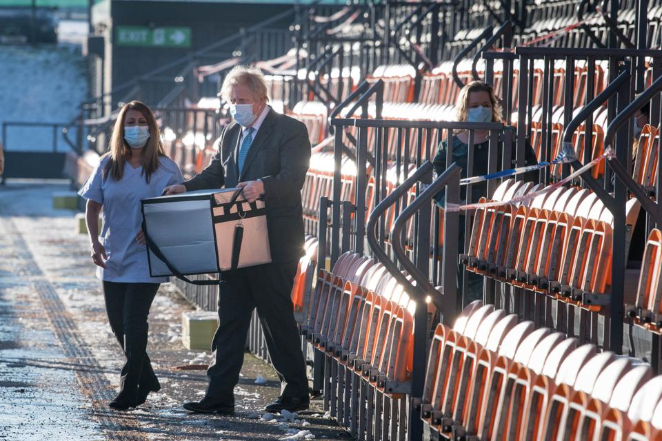 Boris Johnson Visits Vaccination Centre At Barnet FC's 'The Hive'