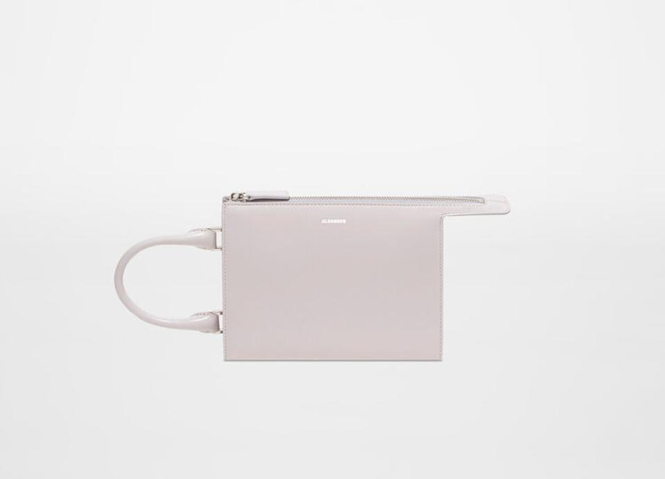 Mini size leather clutch bag with multiple compartments, detachable shoulder strap and embossed Jil Sander logo