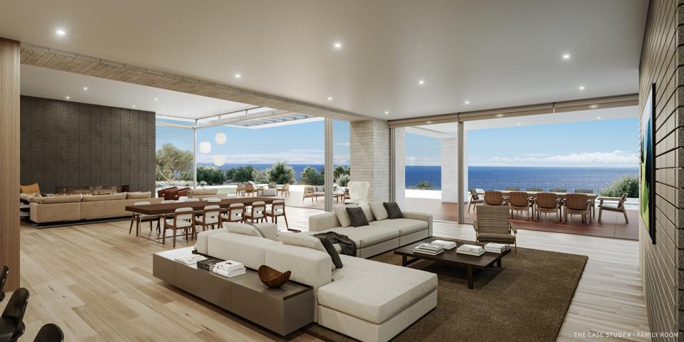 family room inside luxury case study home by scott gillen