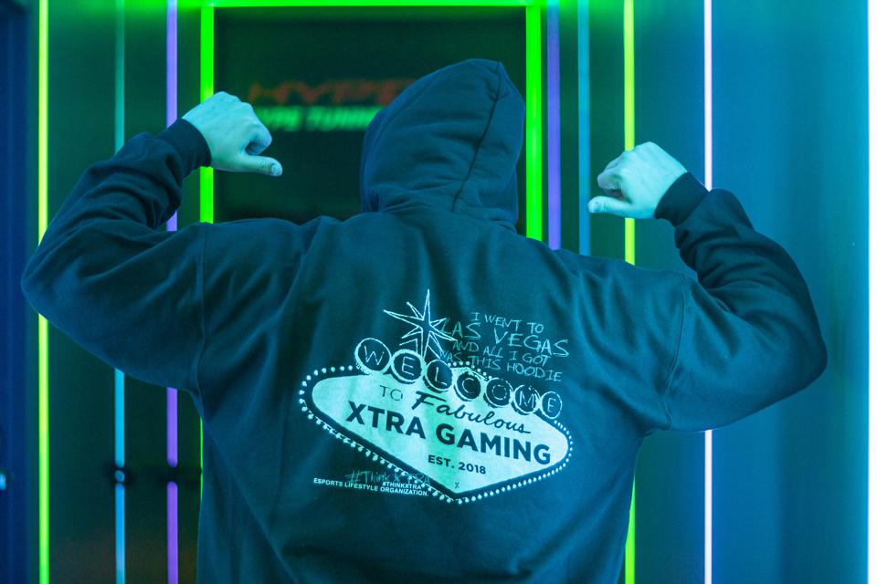 Hoodie sweatshirt for XTRA Gaming Fortnite esports team in Las Vegas