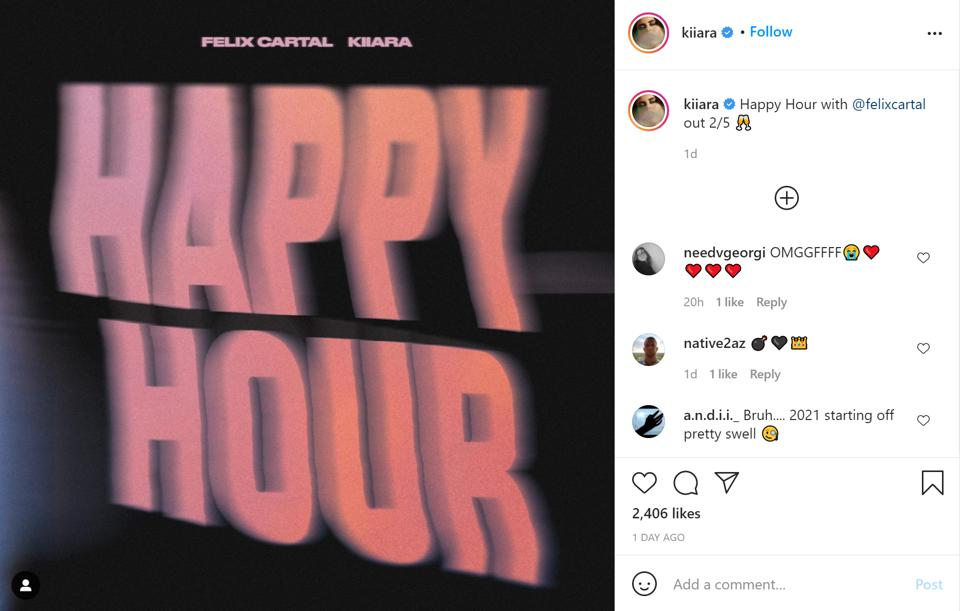 Kiiara's Instagram post announcing her new collaboration with Felix Cartal, Happy Hour.