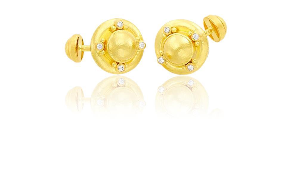 Elizabeth Locke 19K Hammered Gold and Diamond Cufflinks