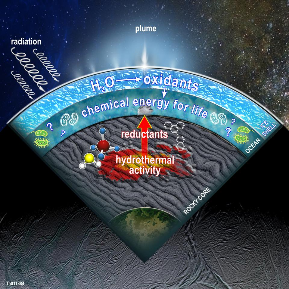 This figure illustrates a cross-section of Enceladus, showing a summary of the processes SwRI scientists modeled in the Saturn moon. Oxidants produced in the surface ice when water molecules are broken apart by radiation can combine with reductants produced by hydrothermal activity and other water-rock reactions, creating an energy source for potential life in the ocean.