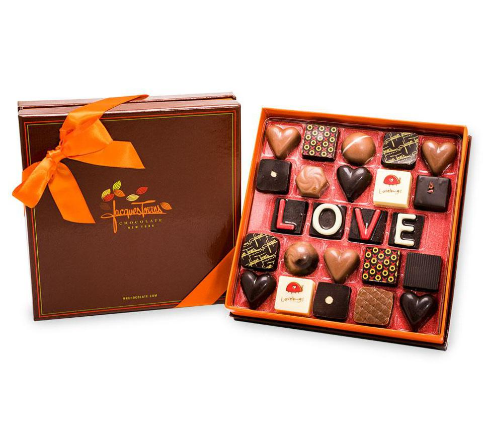 Jacques Torres Valentine's Day Chocolates that say LOVE