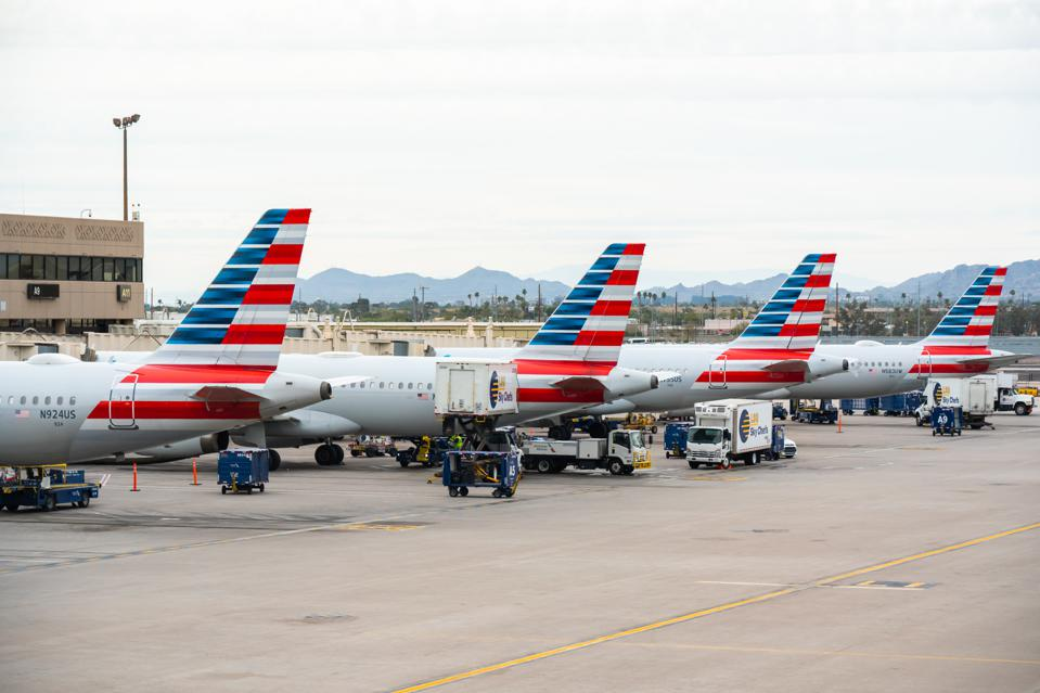 American Airlines aircrafts seen at Phoenix Sky Harbor...