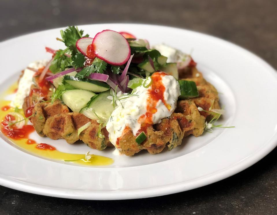 Falafel Waffle with Yogurt Sauce and Cucumber-Tomato Salad