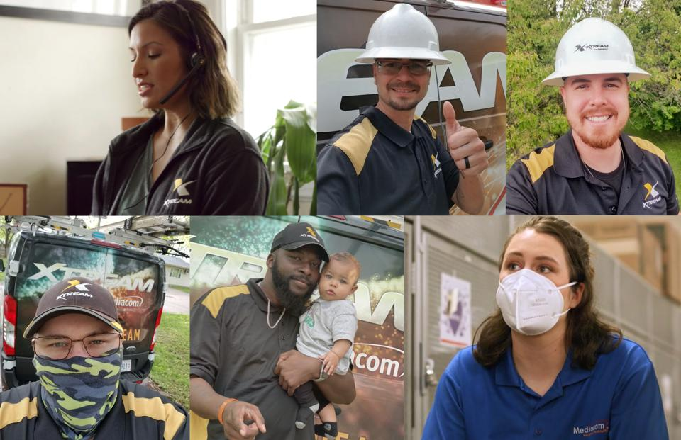 A collage of Mediacom employees during the COVID-19 pandemic.
