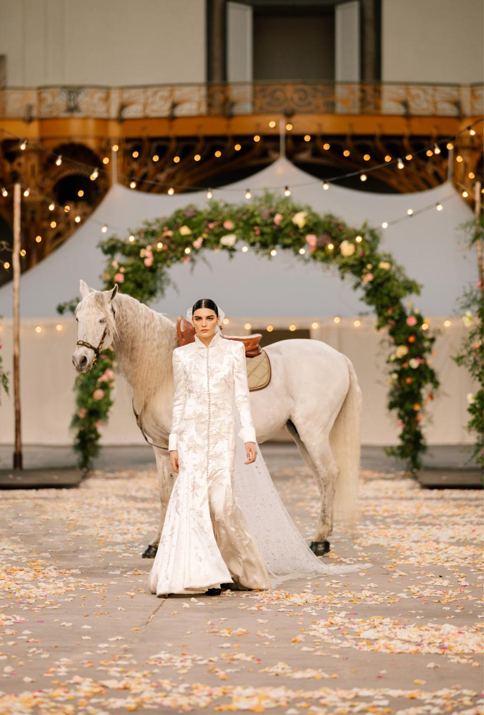 Lola Nicon, the CHANEL bride on a white horse