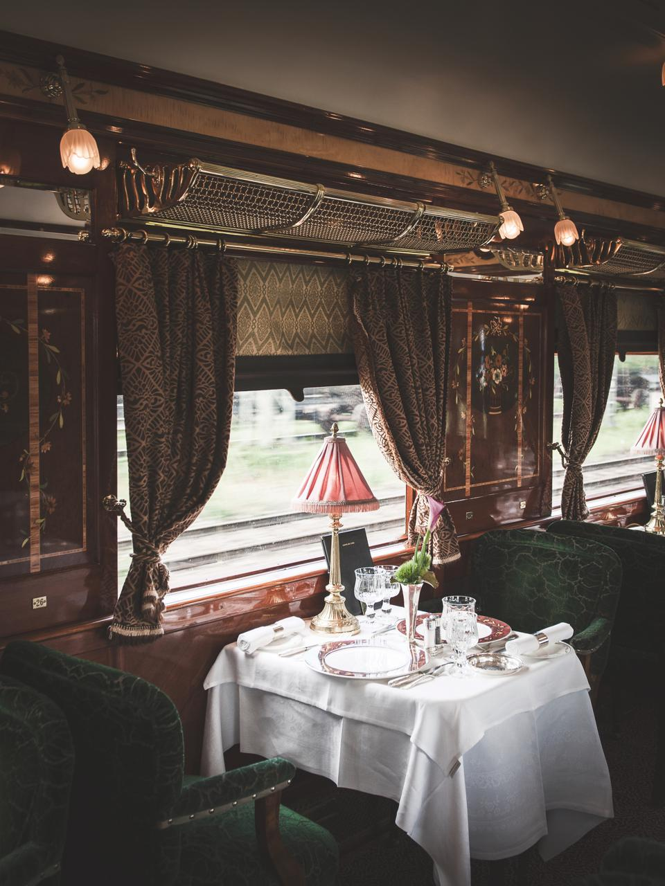 One of the three restaurants aboard the Venice Simplon-Orient-Express