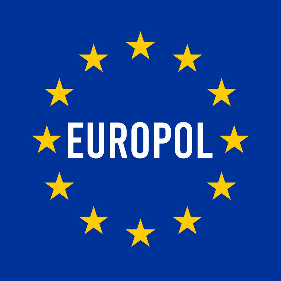 Europol sign illustration with the European flag