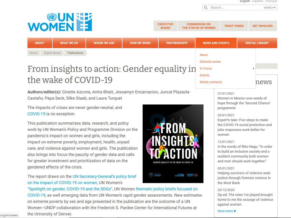 UNWomen on gender parity post-covid