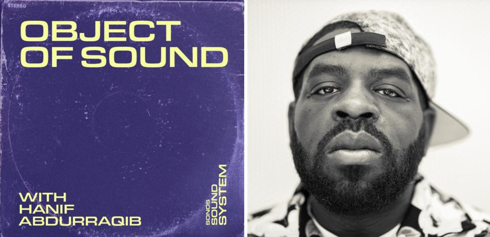 The text ″Object of Sound with Hanif Abdurraqib″ on a purple background, with a headshot.