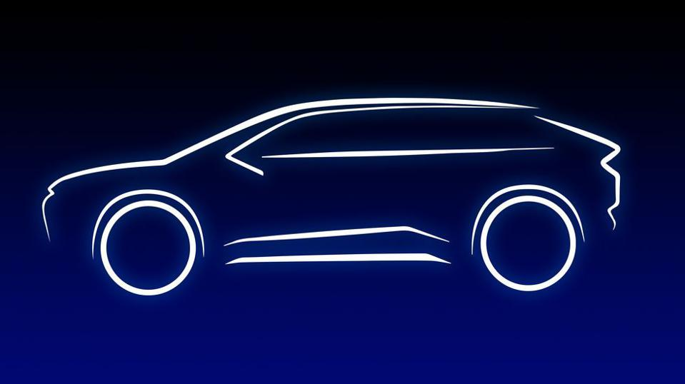 This is a Toyota teaser image of what its first electric SUV will look like.