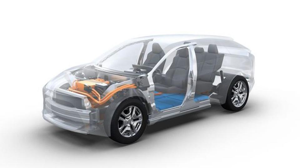 Here is a see-through image of the powertrain that will propel Toyota's first dedicated production EV.