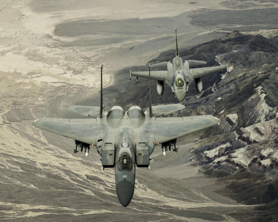 F-15 and F-16 in flight