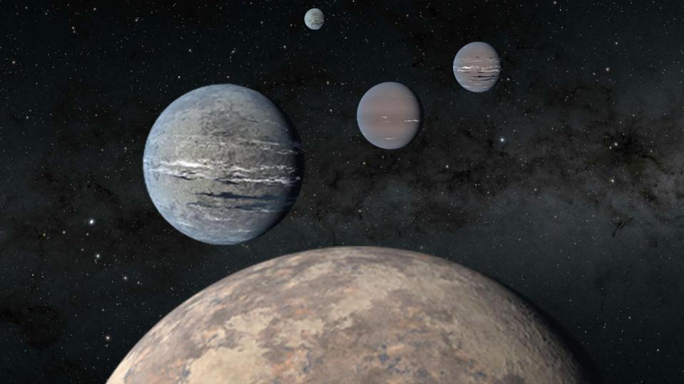 An artist's rendering of five planets orbiting TOI-1233, four of which were discovered using the Transiting Exoplanet Satellite Survey (TESS), an MIT-led NASA mission.