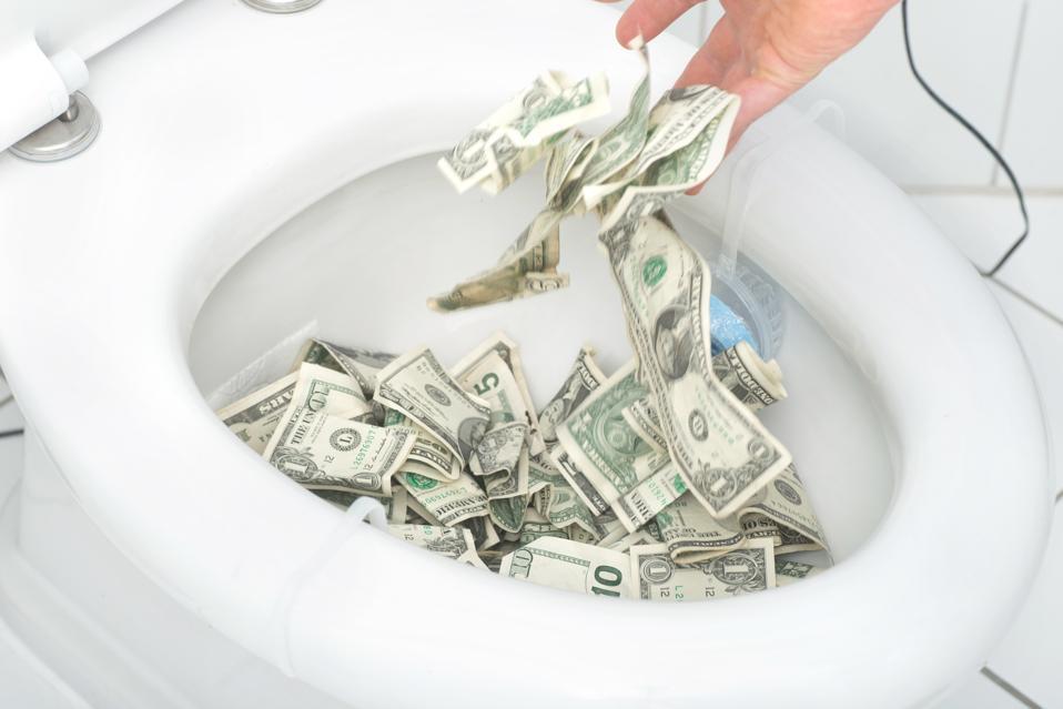 many dollars in toilet