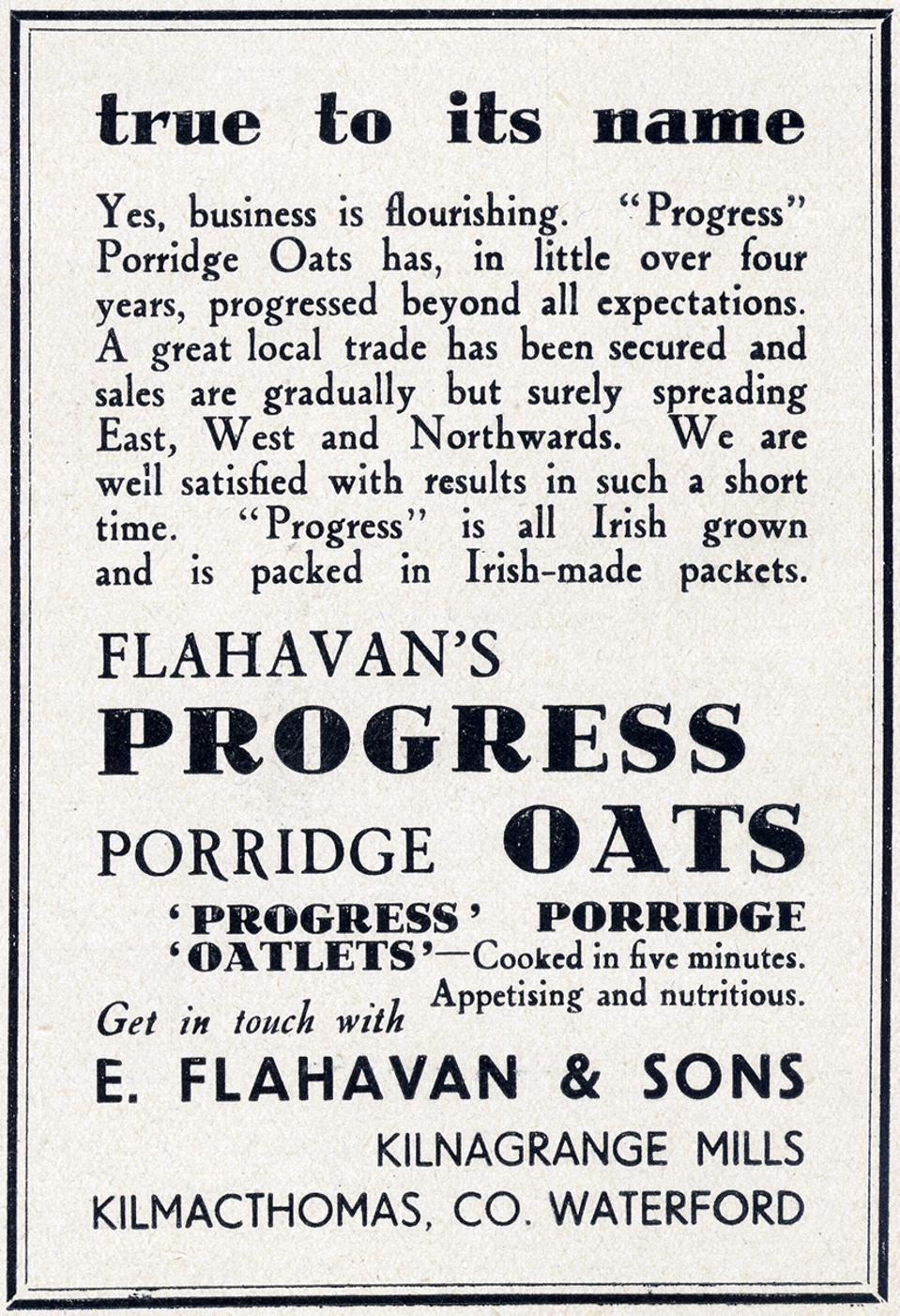 A Flahavan's advertisement from 1939