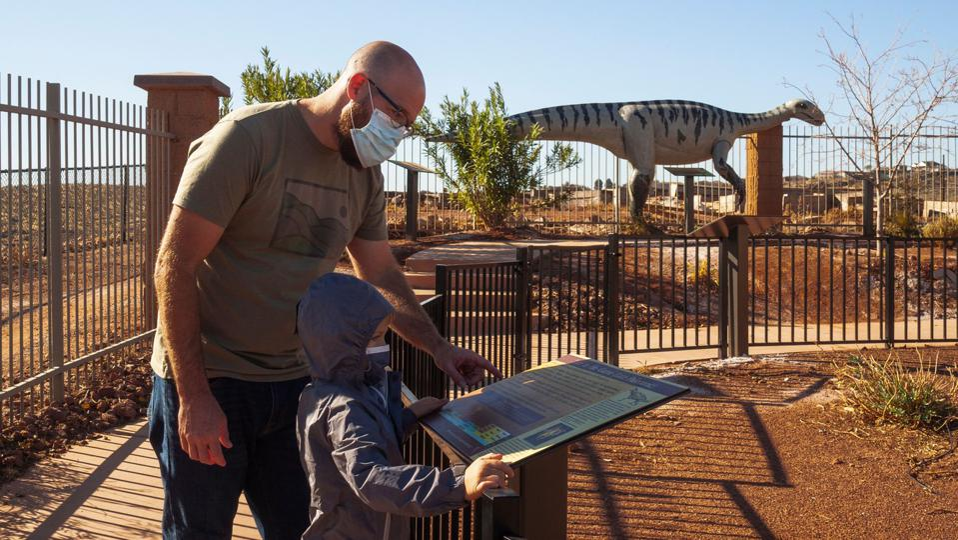 kid and dinosaur