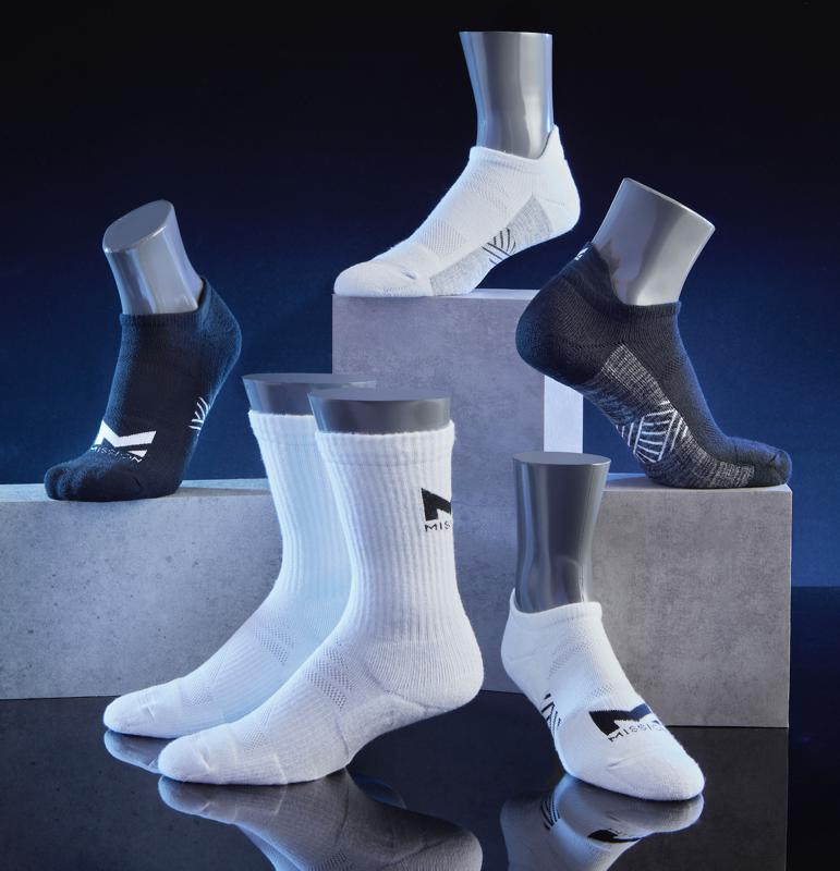 Available in black and white; single pairs or 3-packs, MISSION's NEW Cooling Performance Socks Powered by VaporActive™ that helps you stay dry by releasing excessive heat and moisture buildup – so you can stay comfortable all year-round