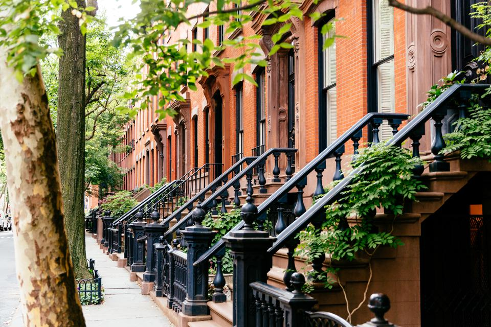 Brownstone houses in Greenwich Village, New York City, USA