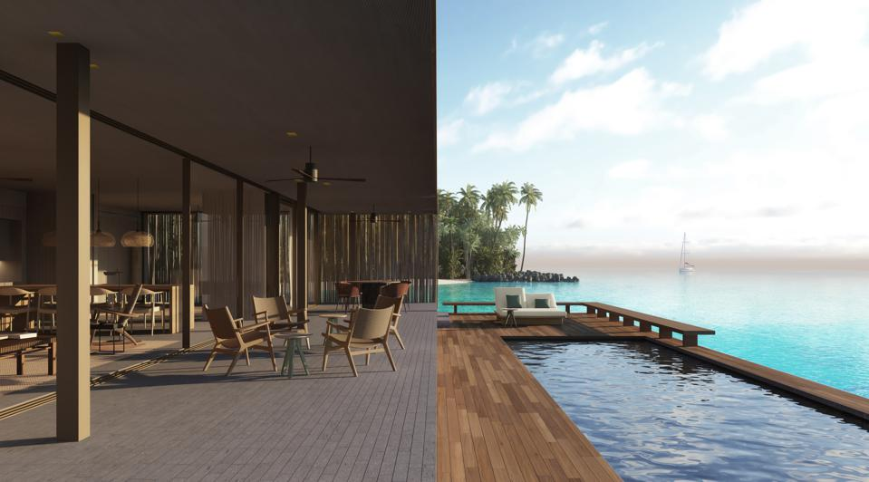Two images: on the right, a swimming pool on a deck ″floating″ over the ocean, with palm tress in the background. On the left, an open-air deck with seating.