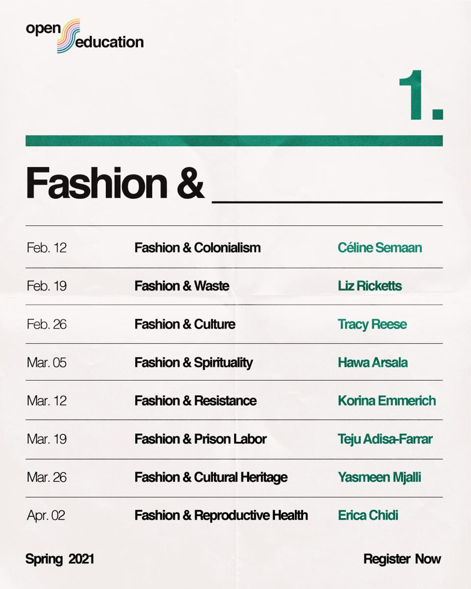 Fashion curriculum, part of the Slow factory Open Edu program.