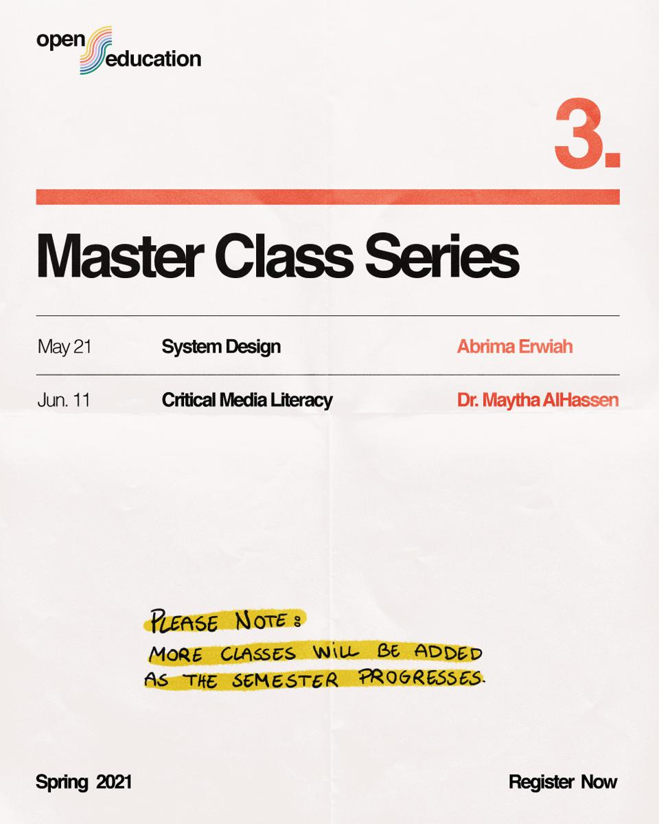 Master Class Series, part of the Slow factory Open Edu program.
