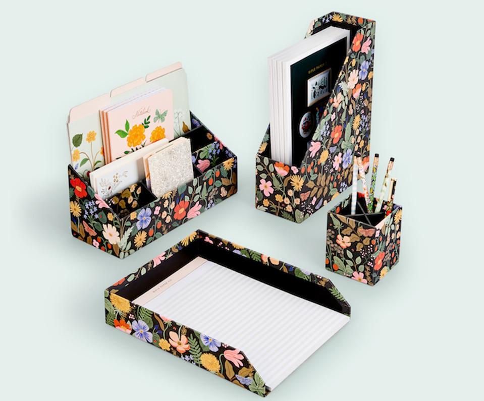 Rifle Paper Company's vibrant desk accessories
