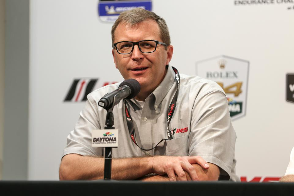 IMSA president John Doonan addresses reporters at Daytona International Speedway prior to the 2020 Rolex 24 At Daytona.