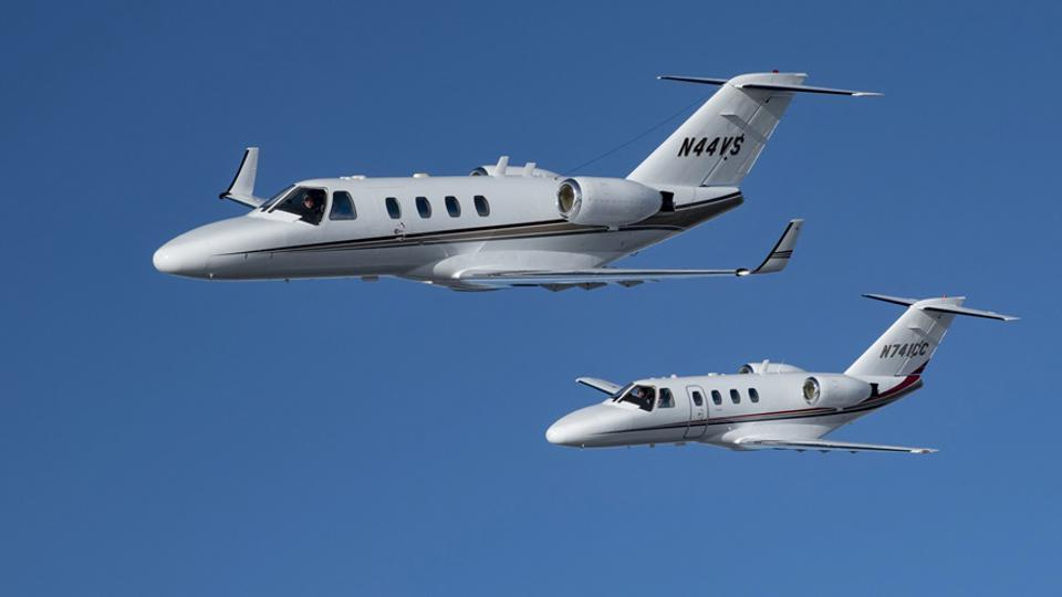 Two Cessna Citation biz jets engaged in a ″flyoff″ from Maine to Florida on January 26.
