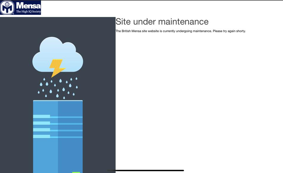 Mensa site showing site under maintenance message
