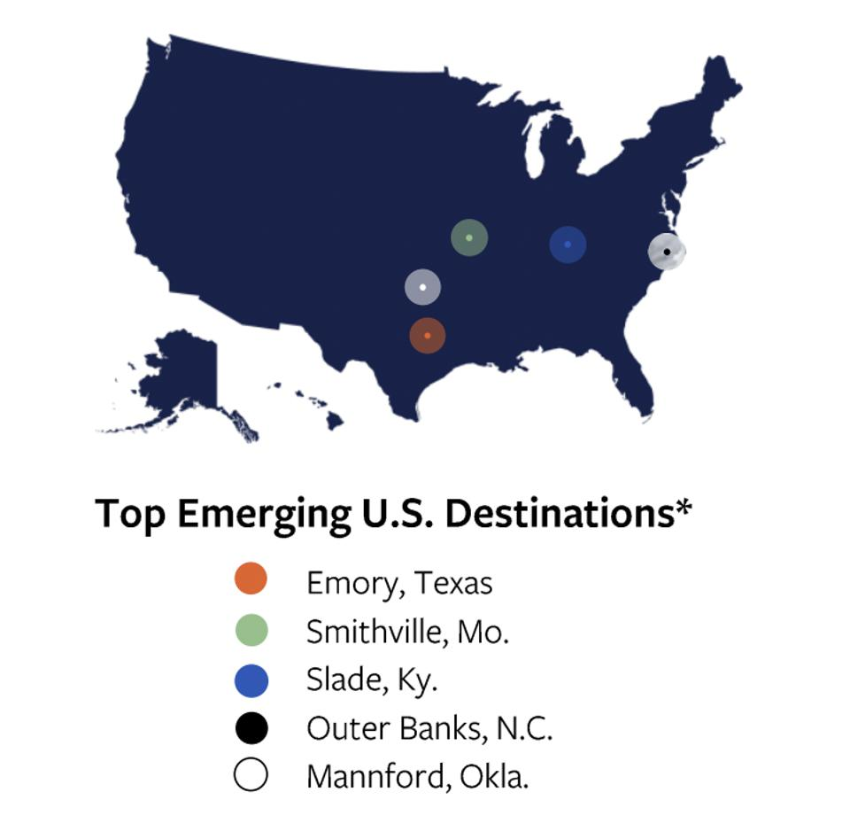 Top emerging destinations from Vrbo's new travel survey.