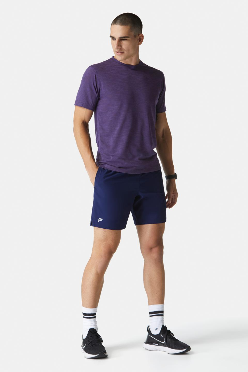 Fabletics Men Status 2-Piece Kit featuring The Front Row Tee in dusty purple & Fundamental Short in navy